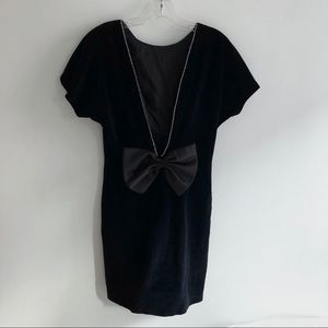 VTG black velvet open back bow dress vintage